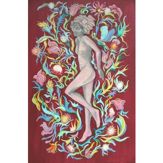 "Mixed Media Figure Painting on Board by Kathleen Ney, Maximalism, Botanical, ""Gaia I"" For Sale"