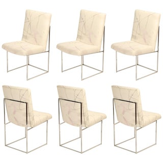 Set of Six Chrome Dining Chairs by Milo Baughman for Thayer Coggin, Circa 1970 For Sale