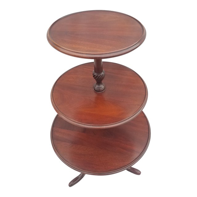1990s Hickory Chair Co. 3 Tiered Mahogany Dumbwaiter/Butler Table Stand For Sale