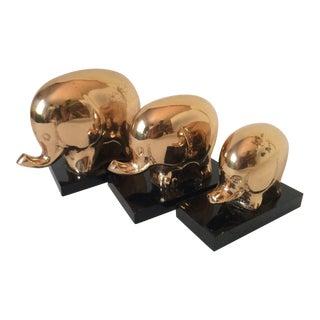 Vintage Modern Set of Three Polished Bronze Elephants on Stands For Sale