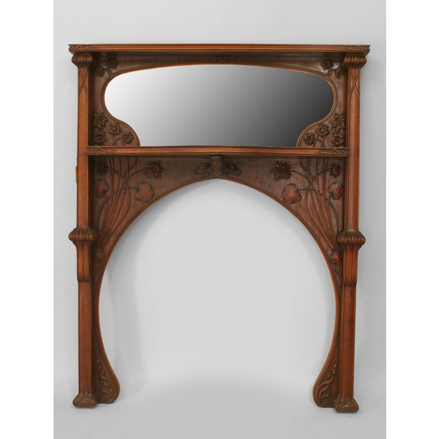Early 20th Century French Art Nouveau Mahogany Fireplace Mantel For Sale - Image 5 of 5