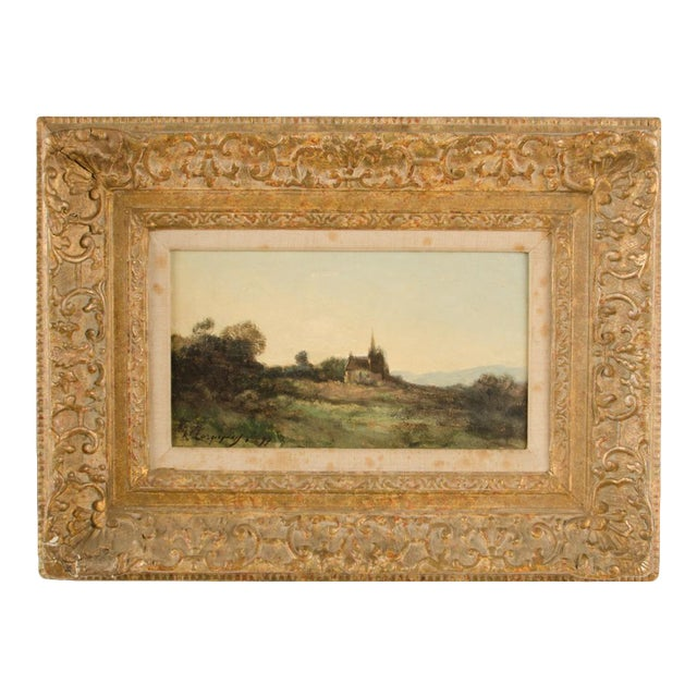 """Early 20th Century """"Lonely Church"""" Landscape Oil Painting, Framed For Sale"""