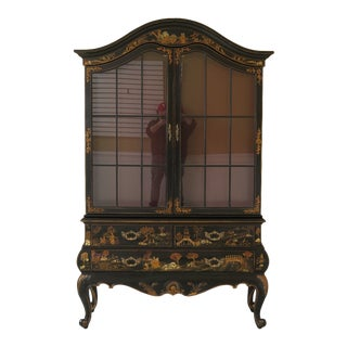 Maitland Smith Chinoiserie China Display Cabinet Bar For Sale