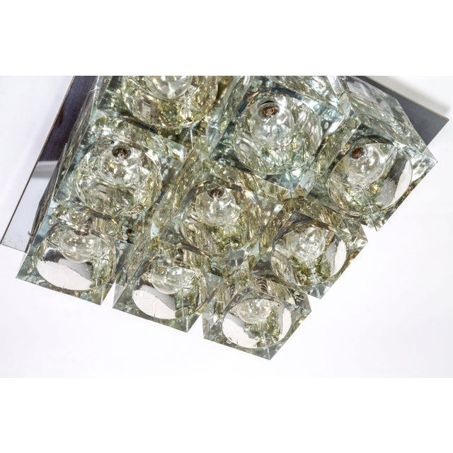 Lightolier Glass Blocks 9-Light Flush Mount For Sale - Image 9 of 13