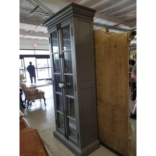 French Restoration Hardware Casement Narrow Double Glass Door Cabinet in Distressed Grey Preview