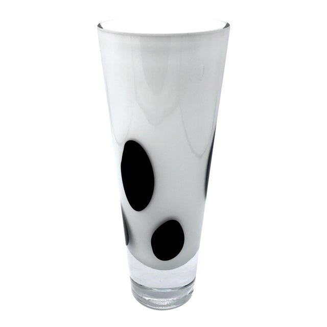 Vintage White With Black Spots Cased Art Glass Vase By Krono Of