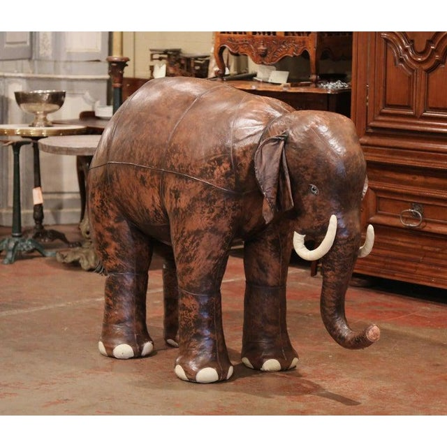 Vintage Life Size Patinated Brown Leather Calf Baby Elephant For Sale - Image 9 of 9