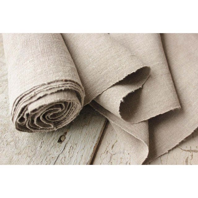 Antique Gray Putty Toned Linen Fabric - 7.3 Yards X 27 Inches For Sale - Image 10 of 11