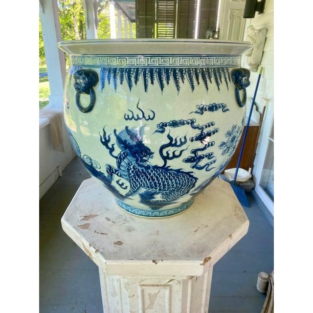 Large Vintage Blue & White Dragons Asian Fish Bowl Planter Pot For Sale - Image 11 of 12