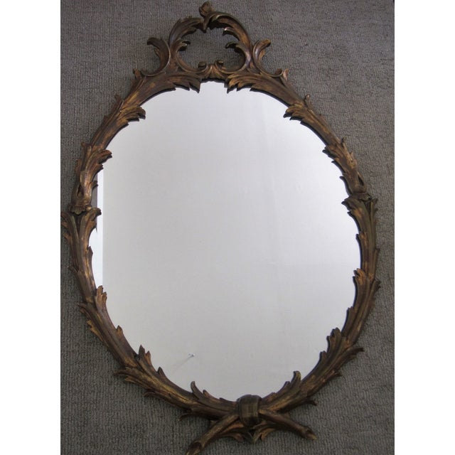Gold Italian Oval Gold Giltwood Carved Wall Mirror For Sale - Image 8 of 8