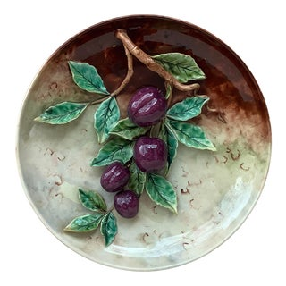 19th Majolica Plums Wall Platter Fives Lille For Sale