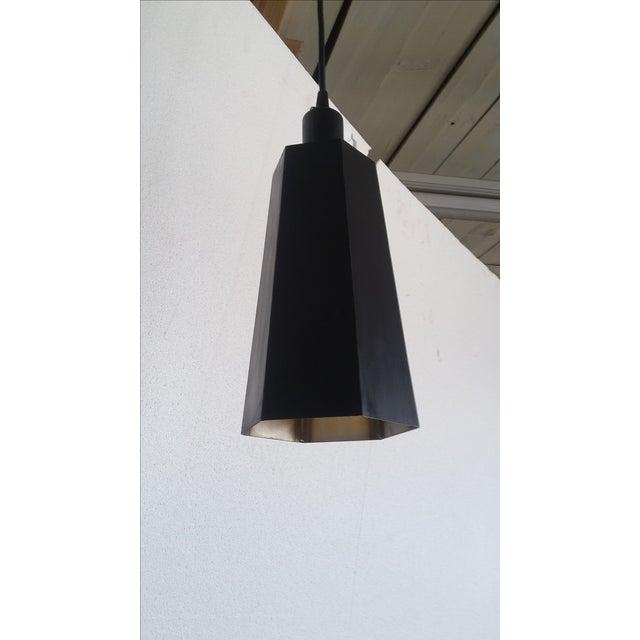 Art Deco Vintage Steel Sheet Metal Pendant Light For Sale - Image 3 of 5