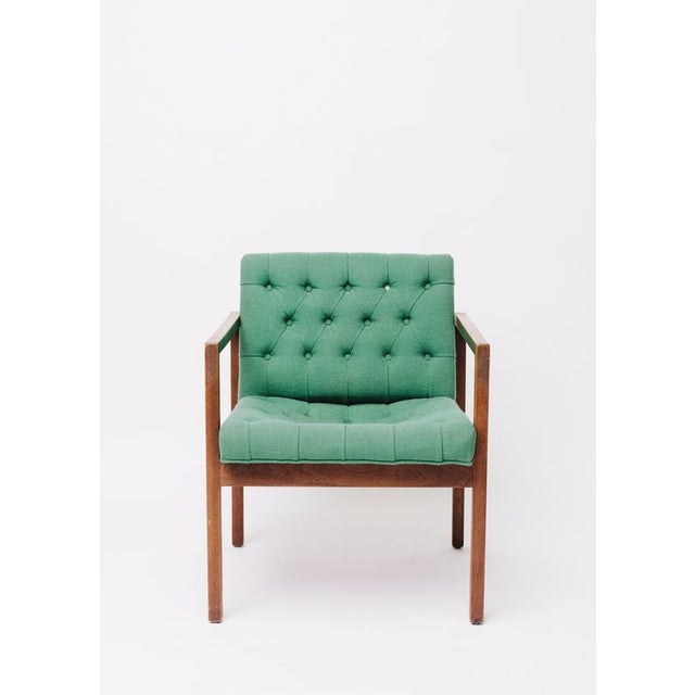 Vintage Green Wool Danish Arm Chairs Pair For Sale - Image 4 of 8