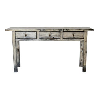 1990s Chinese Distressed Cream Lacquered Console