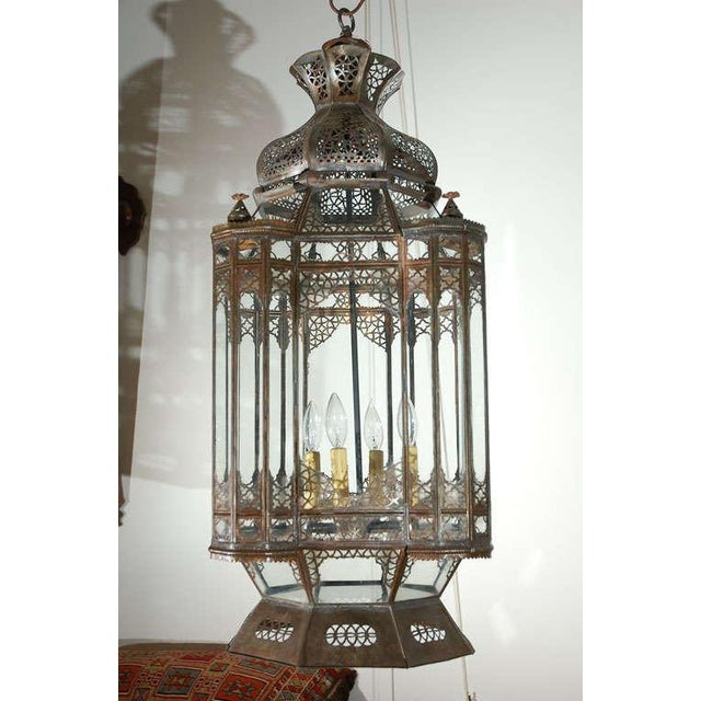 Large Vintage Moroccan Moorish Glass Light Fixture For Sale - Image 10 of 10