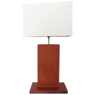 Jacques Adnet Style Hand-Stitched Leather Table Lamp For Sale