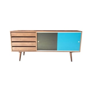Mid-Century Style Custom Small Walnut Credenza For Sale