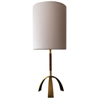 Leather Wrapped Brass Table Lamp For Sale