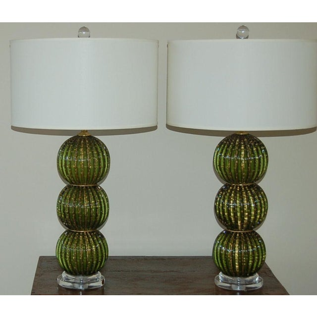 Hollywood Regency Vintage Murano Glass Stacked Ball Murano Lamps Green Gold For Sale - Image 3 of 10