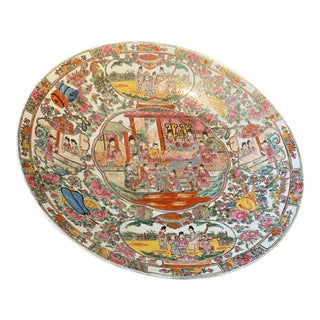 19th Century Asian Famille Rose Porcelain Charger For Sale