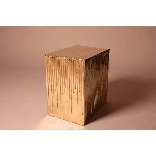 Hand Casted Polished Bronze Box Stool For Sale - Image 4 of 10
