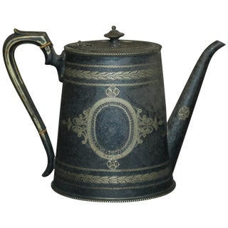 Antique English George III Silver Plate Teapot, Circa 1820 For Sale