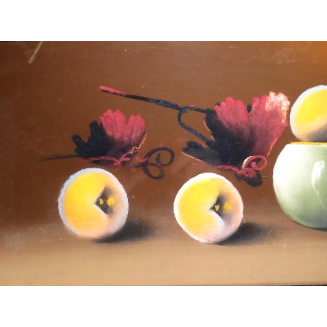 Antique 19th Century Signed Still Life Fruit Bowl Pastel Painting For Sale - Image 4 of 7