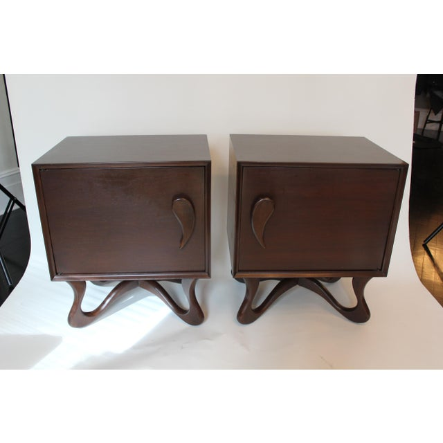 Mid-Century Modern 1950s Mid-Century Modern Mahogany Nightstands - a Pair For Sale - Image 3 of 6