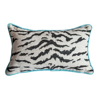 Pink Velvet and White Tiger Pillow For Sale
