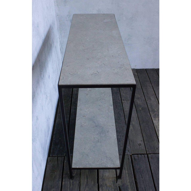 Gray Custom-made Marcelo Console Table With Pistachio-travertine Stone For Sale - Image 8 of 9