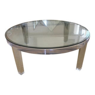 Contemporary Round Glass/Lucite Coffee Table For Sale