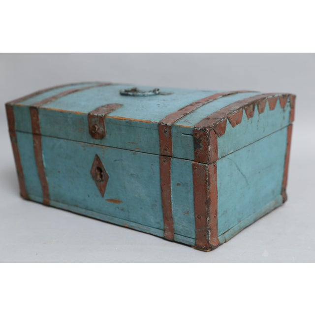 Mid-Century Modern Antique Swedish Chest Strong Box, Lock & Key For Sale - Image 3 of 8