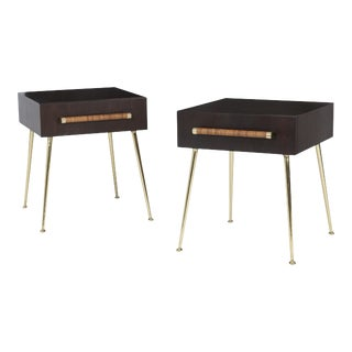 T.H. Robsjohn-Gibbings Night Stands on Brass Legs - a Pair For Sale