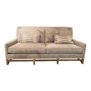 Paul Robert Upholstered in Blue and White Linen Paddy Sofa For Sale
