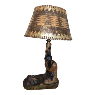 Vintage Indian Maiden Campfire Table Lamp For Sale