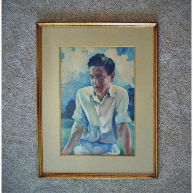 Vintage Mid-Century Watercolor Young Man Portrait Painting For Sale In Providence - Image 6 of 6