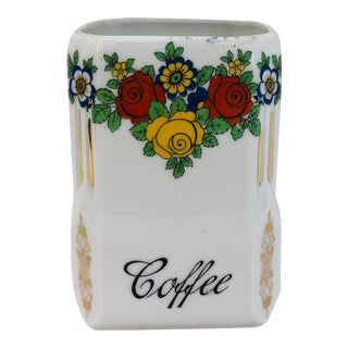 Antique Painted Porcelain Coffee Container For Sale