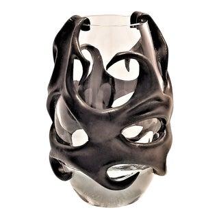 Rare Large Vintage Sculptural Leather and Glass Vase - Organic Modern Mid Century Art Nouveau Art Deco Style For Sale