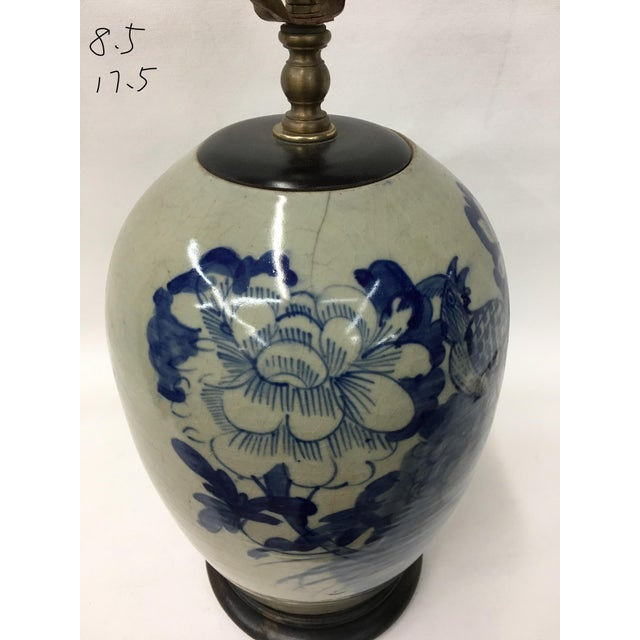 Asian Late 19th Century Chinoiserie Celadon Blue & White Porcelain Ginger Jar Table Lamp For Sale - Image 3 of 4