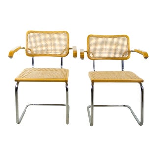 1980s Mid-Century Modern Cesca for Knoll Beech Chairs - a Pair For Sale