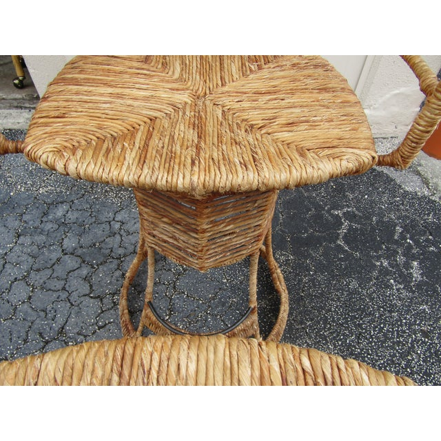 Vintage Woven Rattan Bar Stools / Counter Stools - a Pair For Sale - Image 10 of 12