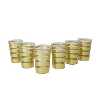 Gold & Clear Ring Tea Glasses - Set of 6 For Sale