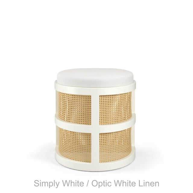 Isabella Demi Stool - Coral Dust, Optic White Linen For Sale - Image 4 of 5