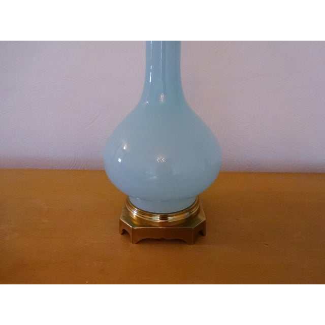 Vintage Paul Hanson Opaline Glass and Brass Lamp For Sale In Saint Louis - Image 6 of 8