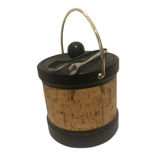 Vintage Kraftware Faux Leather and Cork Ice Bucket For Sale