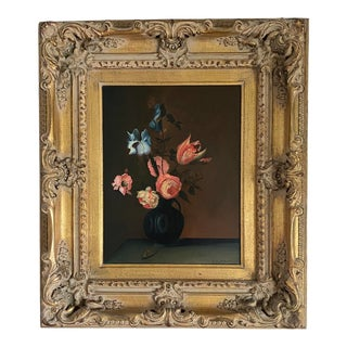 Late 20th Century Floral Still Life Oil Painting, Framed For Sale