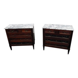 20th Century Jansen Style Marble Top Commodes - a Pair For Sale