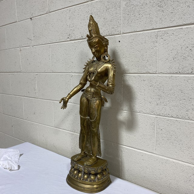 Very cool and very big Female Hindu brass sculpture statue. Very good vintage condition with some brass oxidation,...