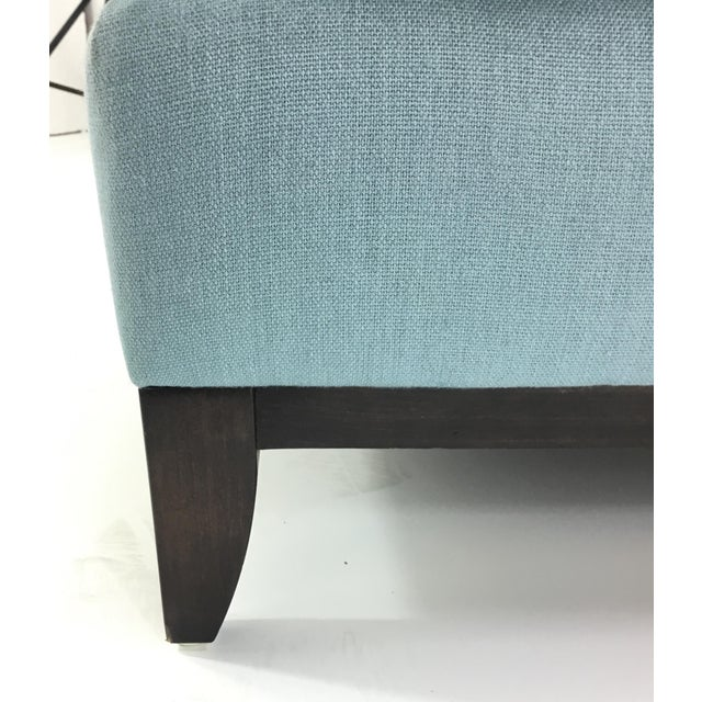 Modern Barbara Barry for Henredon Robins Egg Blue Channel Back Tub Club Chair For Sale - Image 3 of 7