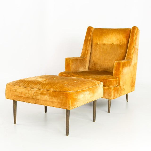 Dunbar Furniture Mid Century Edward Wormley for Dunbar Chair and Ottoman For Sale - Image 4 of 13